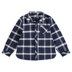 Junior - Chemise manches longues en flanelle à carreaux avec poche