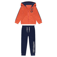 Junior - Jogging avec gilet à capuche orange et pantalon printé
