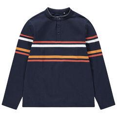 Junior - Polo manches longues en jersey à rayures contrastées et inscriptions au dos