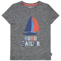 T-shirt manches courtes gris chiné print bateau