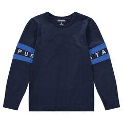 Tee-shirt manches longues en jersey avec bandes appliquées