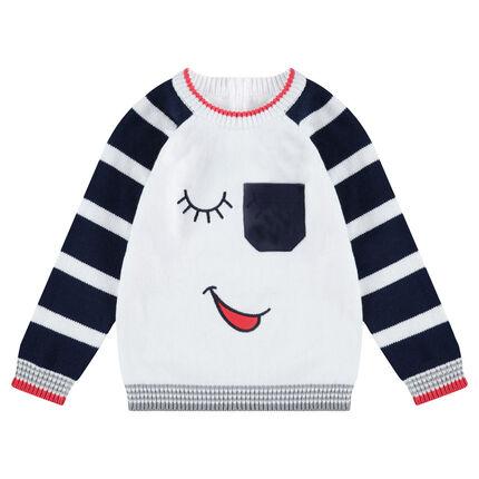Pull en tricot avec détails brodés et poche plaquée