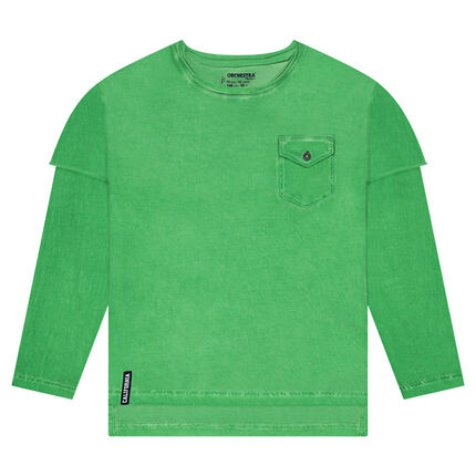 Junior - Tee-shirt manches longues effet 2 en 1 avec poche