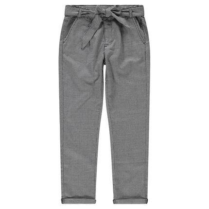 Junior - Pantalon droit en micro pied de poule avec liens à nouer