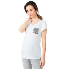 Tee-shirt manches courtes de grossesse et d'allaitement avec poche rayée