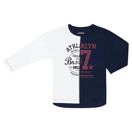 Tee-shirt manches longues bicolore avec inscriptions printées