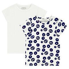 Junior - Lot de 2 tee-shirts manches courtes en jersey imprimé all-over / uni