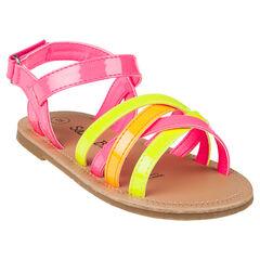 Nu-pieds à brides coloris fluo