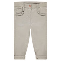 Pantalon en coton uni avec poche forme coeur et volants