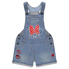 Salopette short en molleton effet jeans Disney print Minnie