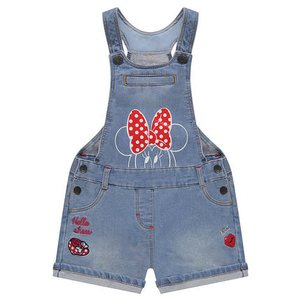 Salopette short en molleton effet jeans Disney print Minnie