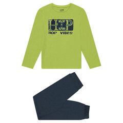 Pyjama en jersey bicolore avec print fantaisie sur le devant