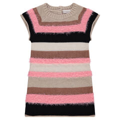 Robe manches courtes rayée en tricot fantaisie