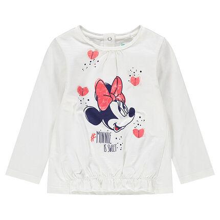 Tee-shirt manches longues en jersey avec Minnie Disney printée et coeurs en relief