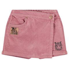 Jupe-short en velours ras avec zèbre patché en fil brillant