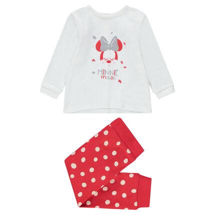 Pyjama en jersey avec print Minnie Disney et bas imprimé pois
