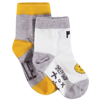 Lot de 2 paires de chaussettes assorties avec motif Smiley