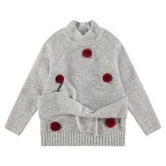 Pull en tricot doux avec pompons et liens à nouer à la taille