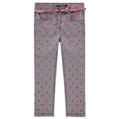 Jeans effet used avec coeurs printés all-over et ceinture amovible