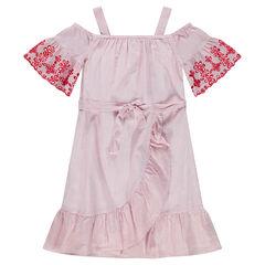 Junior - Robe à épaules ajourées avec pans croisés et dentelle