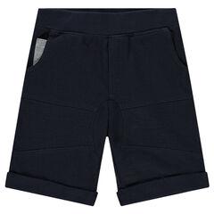 Bermuda en piqué de coton avec poches contrastées