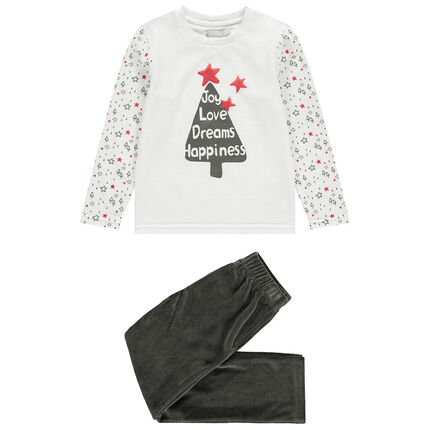 Pyjama en velours avec sapin printé esprit Noël