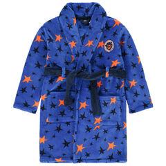 Robe de chambre en sherpa à étoiles all-over et badge