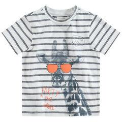 Tee-shirt manches courtes rayé avec girafe printée