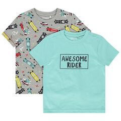 Lot de 2 t-shirts manches courtes en coton bio à message / imprimé