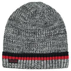 1cfabc8adb4 Bonnet en tricot chiné avec rayures contrastées