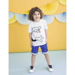 T-shirt manches courtes print mains et Mickey Disney