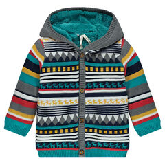 Veste à capuche en tricot à motifs jacquard