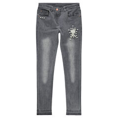 Junior - Jeans coupe slim effet used et crinkle avec fantaisies
