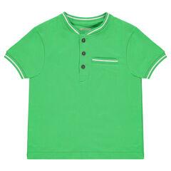 Junior - Polo manches courtes en coton avec détails en bord-côte