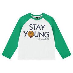 Tee-shirt manches longues bicolore avec badge ©Smiley en feutrine