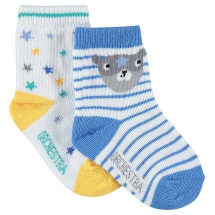 Lot de 2 paires de chaussettes avec rayures et étoiles en jacquard