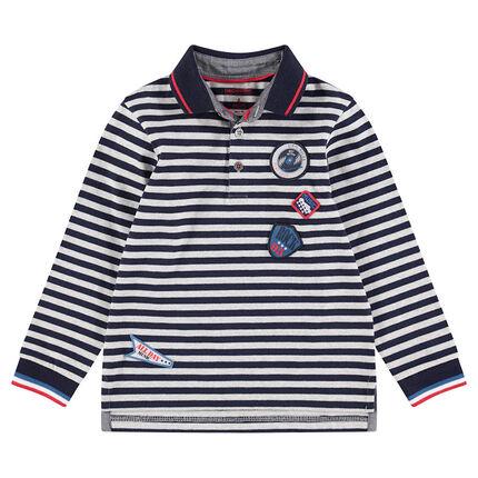 Polo manches longues en coton avec rayures contrastées et badges