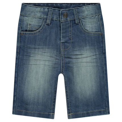 77cf7b414227c Bermuda en jeans effet used et crinkle - Orchestra FR
