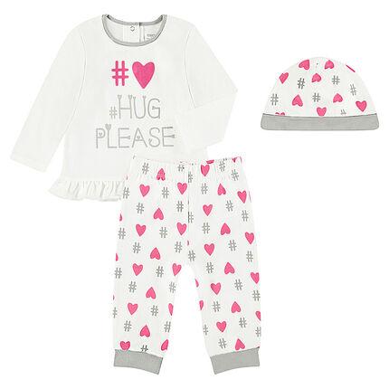Pyjama 3 pièces avec tee-shirt à message printé, bonnet et pantalon imprimés coeurs all-over