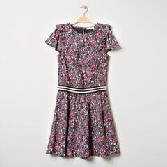 Junior - Robe manches courtes à fleurs et élastique rayé