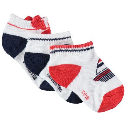 Lot de 3 paires de chaussettes courtes à motifs marins en jacquard
