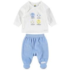 Pyjama bicolore en velours avec prints ©Smiley et pieds fermés