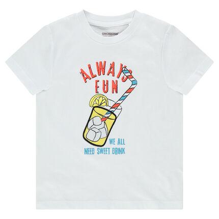 Tee-shirt manches courtes en jersey avec boisson printée
