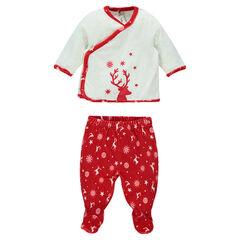 Pyjama en velours spécial Noël de la naissance au 3 mois