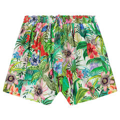 Junior - Jupe-culotte en voile imprimé tropical