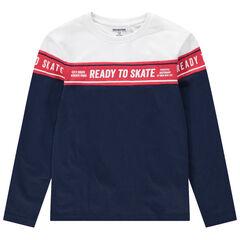 Junior - T-shirt manches longues en coton bio avec bande imprimée sur le devant
