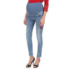 Jeans de grossesse effet used avec broderies florales