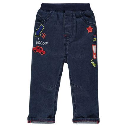 Jeans coupe slim avec badges patchés