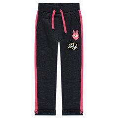 Pantalon de jogging en molleton avec badges et détails roses