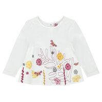 Tee-shirt manches longues avec motif floral brodé